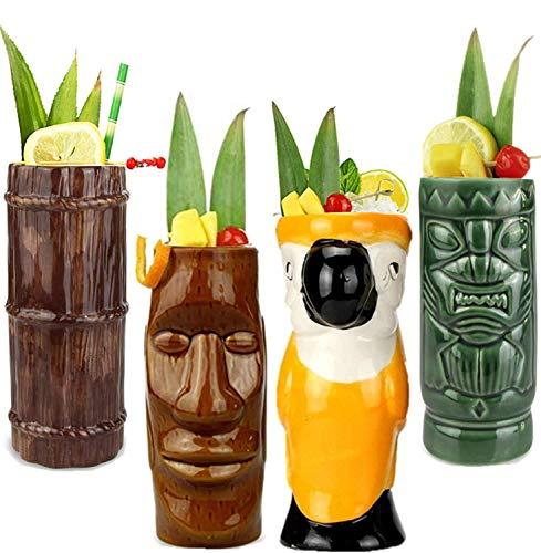 Tiki Mugs Cocktail Set of 4 - Ceramic Hawaiian Party Mugs Drinkware, Cute Exotic Cocktail Glasses, Tiki Bar Professional Hawaiian Party Barware, TKSET0001