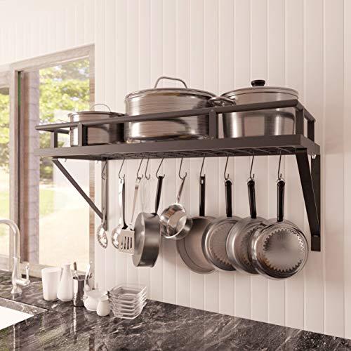 KES 30-Inch Kitchen Pan Pot Rack Wall Mounted Hanging...