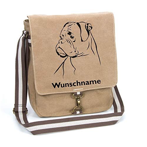 Deutscher Boxer Canvas Schultertasche Umhängetasche Tasche mit Hundemotiv und Namen personalisiert