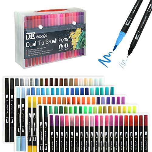 Kesote カラーペン 筆ペン 水性ペン 100色 コピック ペン 極細 毛筆両用 イラストペン 水彩ペン 水彩毛筆