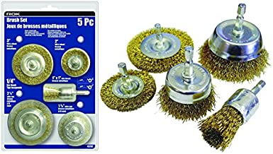 5 Piece Wire Brush Set, 1/4-inch Hex Shanks for Drill