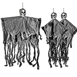 THE TWIDDLERS 3 Esqueletos Fantasma Tenebrosos Colgantes - Cuelgan hasta 70 cm Desde el Techo, Ideales para Fiestas de Halloween Accesorio - Decoración