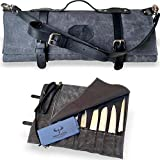 MARION - LE VOYAGEUR - Waxed Canvas with Genuine Calf Top Grain Leather - Handcrafted Professional Chef's Knife Storage Roll Bag - 8 Pockets - (Dark Grey)