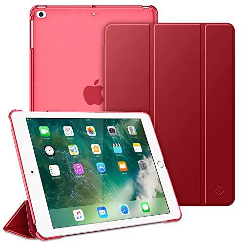 FINTIE Funda para iPad 9.7 (2018/2017), iPad Air 2, iPad Air - Trasera Transparente Carcasa Ligera con Función de Soporte y Auto-Reposo/Activación, Rojo