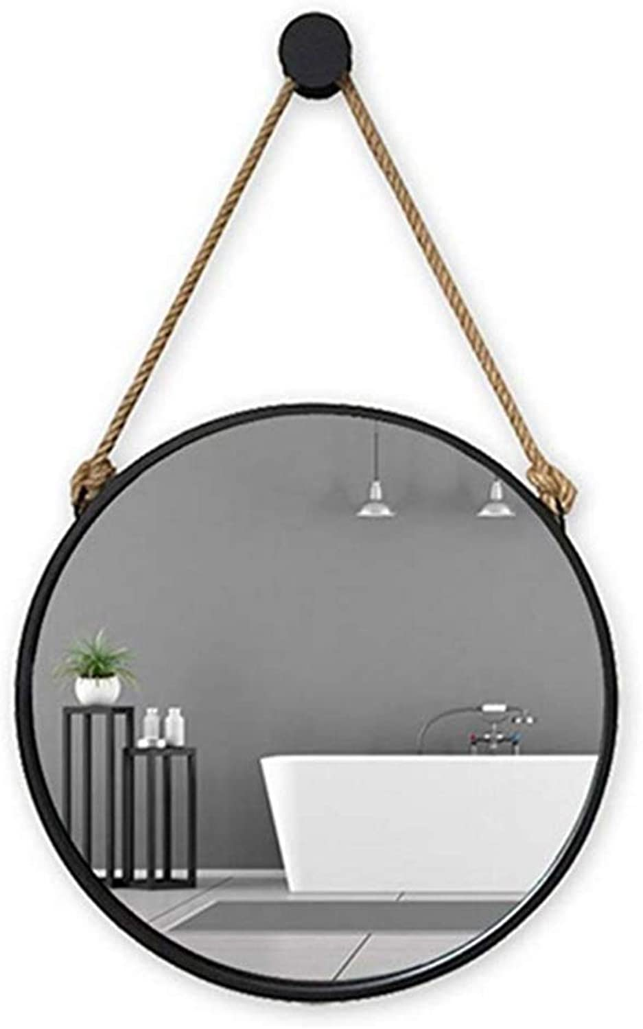 Round Mirror Bathroom Waterproof Mirror Wall Mount Mirror Dressing Table Makeup Mirror (color   Black, Size   30cm)