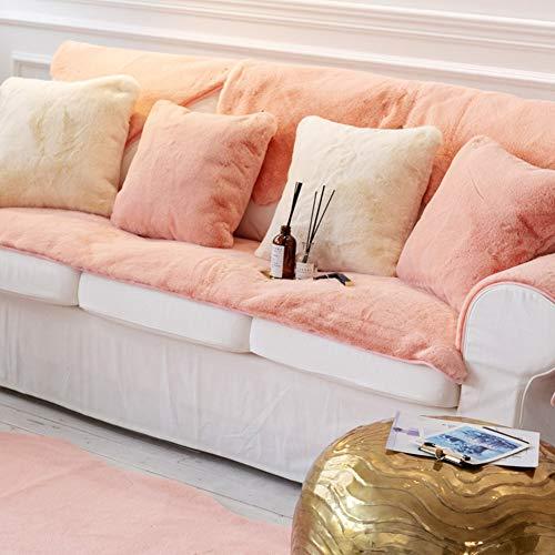 TopJiä Sofabezug Samt Plüsch, Nordisch Moderne Stil Sofahusse Anti-rutsch Weich Warm Sofa Abdeckung Couchbezug Für Winter-rosa 90x150cm