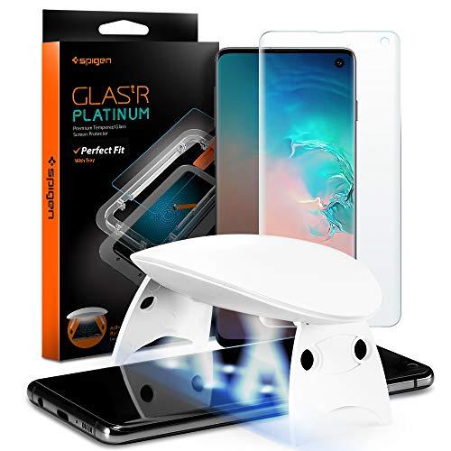 Spigen, Glas.TR Platinum, UV Protector de Pantalla para Samsung Galaxy S10, Compatible con Sensor de Huella Digital, Compatible con Las Fundas, 3D Cobertuna Completa, Anti-Scratch (605GL27615)