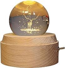 YIJU Caixa de Música de Madeira com Bola de Vidro Luminosa E Mecanismo USB Inovador