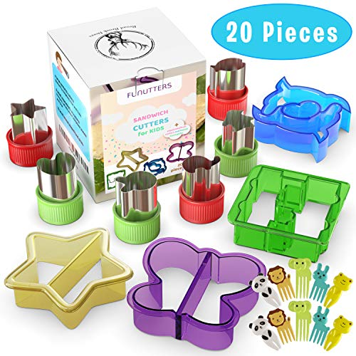 Sandwich Cutters for Kids - 20 pcs/set - Mini Cookie Cutters Set - Vegetable and Fruit Cutters with Food Picks for kids