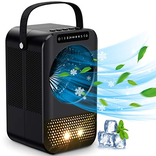 Mini Air Cooler, 3 Speed Portable Air Conditioner 600ML Tank Low Noise Cool Portable Air Conditioner with 7 Colors Light for Home and Office, 2 / 4H Timer