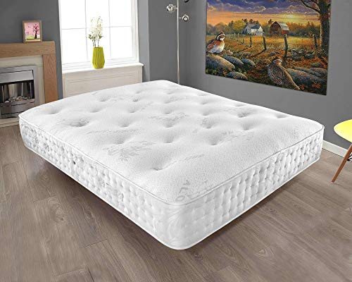 Mattress-Haven Quality Aloe Vera Tuffted Abala Pocket Spring Memory Foam Topped Mattress - 3000 Pocket Springs - Medium / Firm4FT - Small double