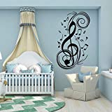 Tianpengyuanshuai Fashion Music Note Wall Decal Music Room Art Sticker 33X57cm