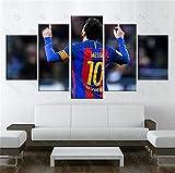 ZKPWLHS Leinwanddrucke 5 Stücke Fc Barcelona Messi