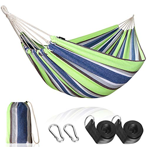 Anyoo Single Cotton Outdoor Hammock Multiples Load Capacity Up to 450 Lbs Portable with Carrying Bag for Patio Yard Garden (Lvbailan)