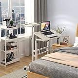 sogesfurniture höhenverstellbar Computertisch Laptoptisch mit Rollen, Mobiler Schreibtisch PC Tisch Stehtisch Notebooktisch Laptopständer, Ahorn BHEU-101-MP