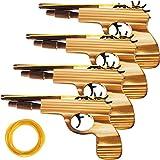 Gejoy 4 Paquets Jouet de Pistolet à Bande de Caoutchouc Set de Pistolet Jouet en Bois DT Fait Main Facile à Charger avec 120 Bandes Élastiques