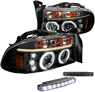Spec-D Tuning L18B-2LHPDAK97JMTM Fog Headlight (Dakota Durango Halo Projector Black LED Bumper Lamp)