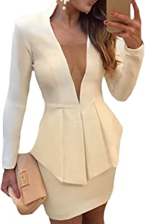 dc7437a62f6d Gocgt Women s Two Pieces Set Solid Office Blazer Bodycon Mini Skirts Suit