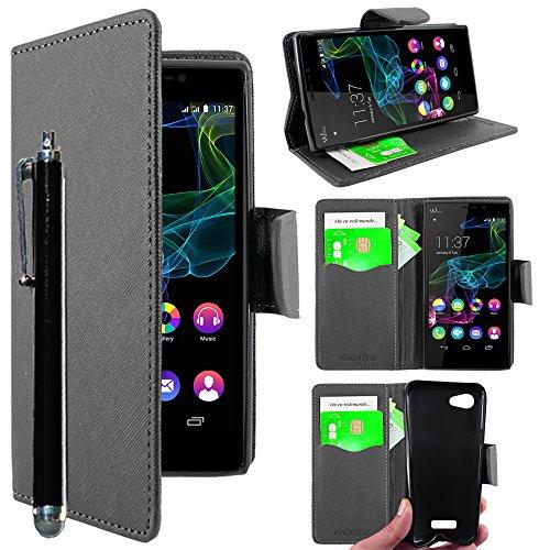 ebestStar - kompatibel mit Wiko Ridge Fab 4G Hülle Kunstleder Wallet Hülle Handyhülle [PU Leder], Kartenfächern, Standfunktion + Stift, Schwarz [Phone: 156 x 78.2 x 8.6mm, 5.5'']