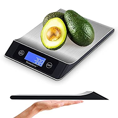 Homelove Digital Food Scale Kitchen Scale, 11 lb/5 kg, LCD Display, Automatic turn-off Function, Multiple unit-conversion (Batteries Included)