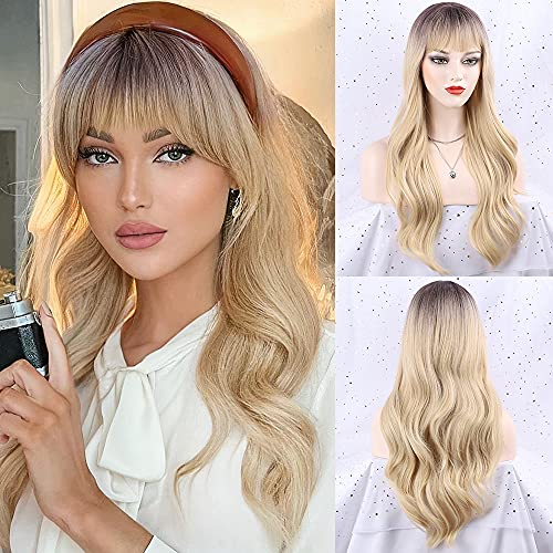 FORCUTEU Blonde Wig with Bangs Long Wavy Blonde Wigs for Women Blonde Synthetic Wigs Long Blonde Wave Heat Resistant Hair Wigs for Daily Party (Blonde 24inch)