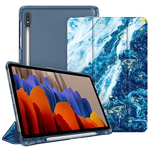 FINTIE Funda para Samsung Galaxy Tab S7 11' 2020 con Soporte para S Pen - Trasera Transparente Mate Carcasa Ligera con Auto-Reposo/Activación para Modelo SM-T870/T875, Azul Océano
