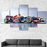 5 Piezas Material Tejido No Tejido Impresión Artística Imagen Coche Red Bull Rb9 Fórmula 1 F1 Dormitorios Decoración para El Hogar -No Tejido Lienzo Impresión- Modular Poster Mural