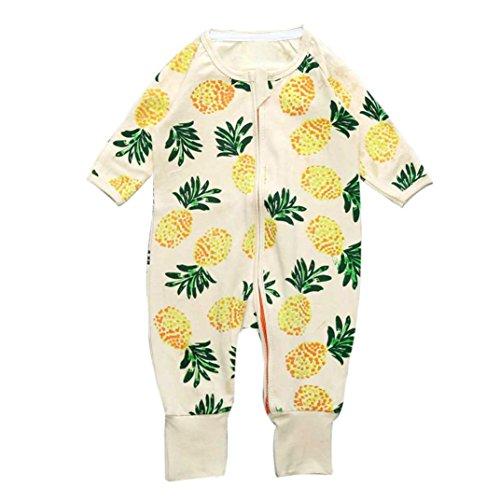 Longra Bébé Garçons Filles Imprimé Floral Fermeture éclair Manche Longue Mamelon Vêtements Outfits (0-2 Ans) (18, Jaune)
