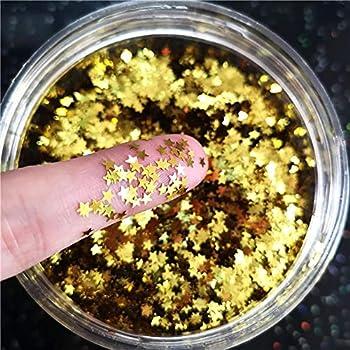 Tiny Stars Glitter Confetti 3mm Stars Confetti Laser Sequins for Party Decoration DIY Crafts Premium Nail Art Body Art Eye Bling - 10g,Gold