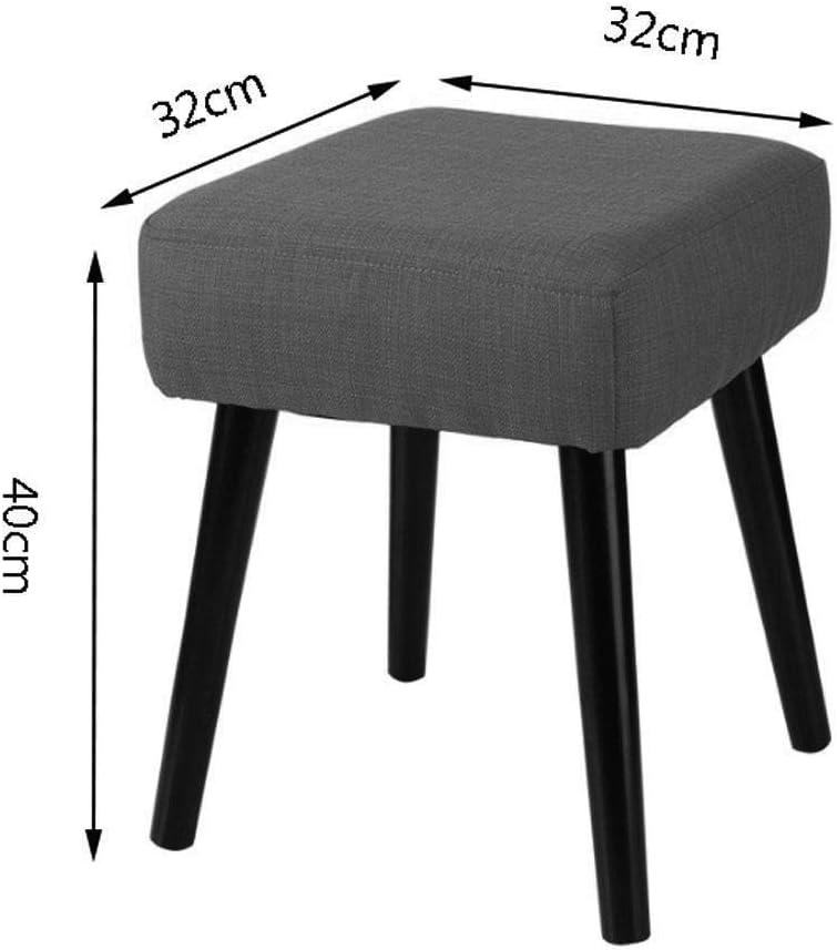 Tabouret De Canapé-Tabouret en Tissu Simple Simple Chaise en Bois Massif Nordique Chaussures Changement Tabouret JINRONG (Couleur : Rouge) Noir