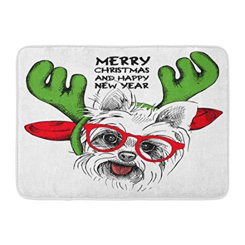 Zerbini Tappeti da bagno Tappetino per porte per interni ed esterni Cane verde Natale Cucciolo di Yorkie Ritratto in maschera Babbo Natale Corna Renna e occhiali Tappeto per bagno mano rossa Tappeto