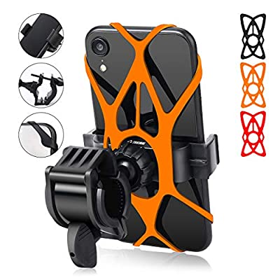 Bike Phone Mount - Trkimal Universal Adjustable Cell Phone Holder for Bicycle Motorcycle Compatible with iPhone Max Xr Xs X Pro 11 8 7 Plus Samsung Galaxy S20 S10 S9 S8 S7 Edge Note 10 9 8