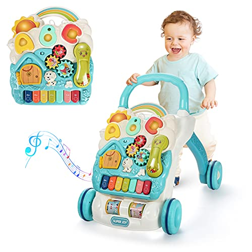 SUPER JOY Sit to Stand Learning Walker, 3 in 1 Baby Learning Walkers & Removable Play Panel,Early Education Activity Center with Lights & Sounds, Music Learning Toys Gift for Toddler Boys Girls
