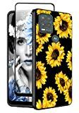 Yznoek for Moto G Stylus 5G Case with Tempered Glass Screen Protector,Shockproof Slim TPU Rubber Silicone Girls Women Black Phone Case Cover for Motorola Moto G Stylus 5G 2021 (Sunflower)
