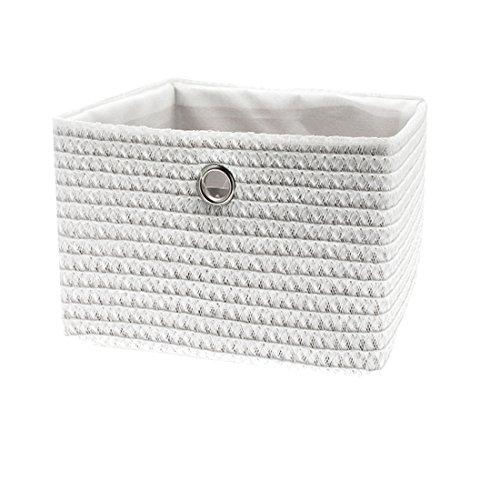 FRANDIS 181105 Paniers de Rangement Blanc Matière : PP + térylène à l'intérieur, poignée en INOX Dim Produit : 33 x 26 x 23 cm