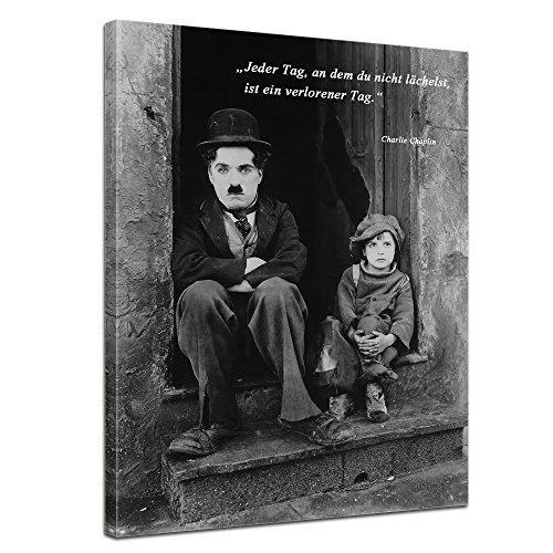Wandbild mit Zitat - Jeder Tag, an dem du Nicht lächelst, ist EIN verlorener Tag. - II - (Charlie Chaplin) 50x60 cm - Sprüche und Zitate - Kunstdruck mit Sprichwörtern - Vers - Bild auf Leinwand