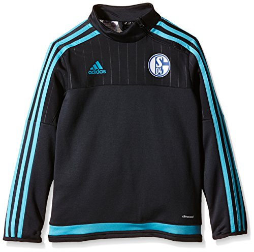 adidas Jungen Sweatshirt Langarm Shirt FC Schalke 04 Training, Night Grey/Super Cyan S12, 176
