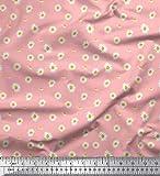 Soimoi Rosa Satin Seide Stoff Gänseblümchen Hemdenstoff