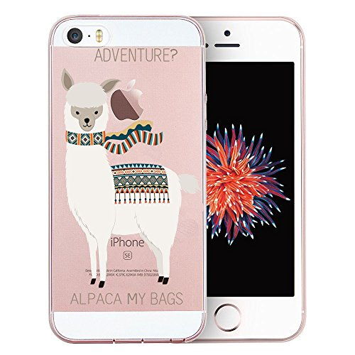 Unov Case Clear with Design Embossed Pattern TPU Soft Bumper Shock Absorption Slim Protective Cover for iPhone SE iPhone 5s iPhone 5(Alpaca Bags)