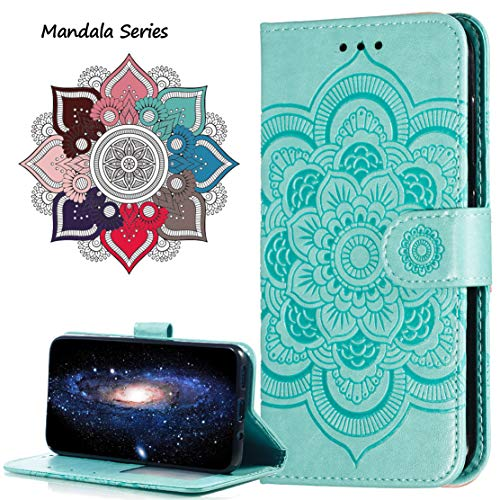 MRSTER Moto E5 Play Go Case Flip Premium Wallet Phone Case PU Leather Mandala Embossed Shockproof Cover with Kickstand Card Holder for Motorola Moto E5 Play Go. LD Mandala Green