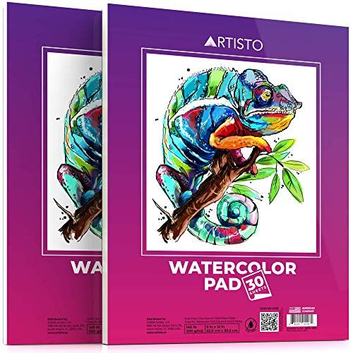 "Artisto Watercolor Pads 9x12"", Pack of 2 (60 Sheets), Glue Bound, Acid-Free Paper, 140lb (300gsm), Perfect for Most Wet & Dry Media, Ideal for Beginners, Artists & Professionals"