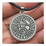 AdorabFruit Présent Pendentif Hombres Amuleto de Viking joyería Dobles War Horse griegos Caballeros Templarios Latina Exquisito Collar Colgante Sello conmemorativo (Metal Color : 88)