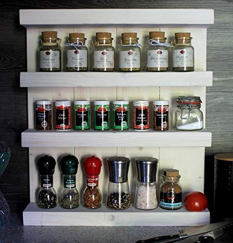 Étagère à épices en bois - pour mur ou sur pied - blanc (teinté) - 4 étagères - 57 x 50 x 12 cm - bois massif