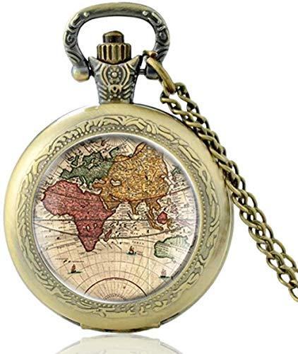 quanjiafu Collar Reloj De Bolsillo De Cuarzo con Cúpula De Cristal con Mapa del Mundo Vintage, Collar De Bronce Clásico para Hombres Y Mujeres, Regalos Colgantes Collar