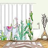 XCBN Tenda da bagno in Tessuto tropicale Cactus Tenda da bagno per la decorazione del bagno Accessori da bagno stampati A17 150x180cm