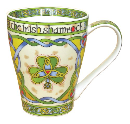 Clara Ireland Bone China Mug with Irish Weave Shamrock Design