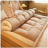 YRRA Colchón de futón, Plegable y Grueso colchón Tradicional japonés, Acolchado de Tatami Colchón Acolchado y Mullido, Piso de Tatami portátil, para Dormir Viaje,Caqui,150x200cm