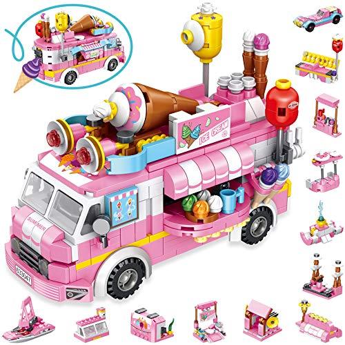 LUKAT Eiswagen Bausteine Spielzeug für Mädchen 5 6 7 8 9 10 Jahre 553 Stück Gebäude Konstruktionsspielzeug 25-in-1 STEM Baukasten Pädagogisches Bauspielzeug Weihnachten Geschenk für Kinder