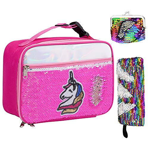 IAMGlobal Insulated Mermaid Lunch Box, Unicorn Lunch Bag, Reversible Sequin Lunch Tote Bag, Handheld Reusable Lunch Box With A Pencil Case, A Mini Purse For Girls Boy (Rose Red)