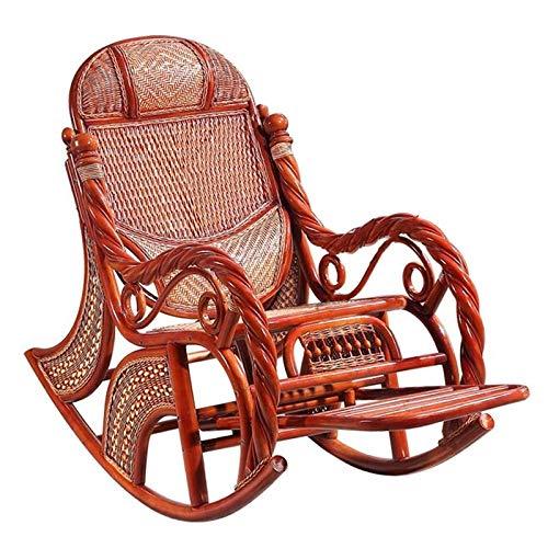 Y&MoD Schaukelstuhl Natur Rattan,Schaukler Relax-Stuhl Schwingsessel Schaukelsessel für Wohnzimmer, Balkon,Einfache Montage,Belastbarkeit 300 kg